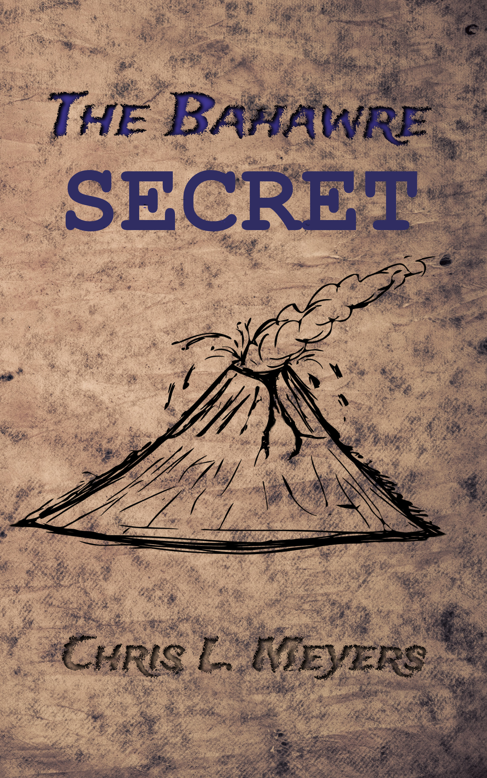 Book cover with volcano sketch